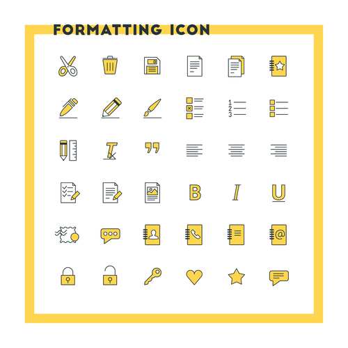 Text formatting flat design icon set. Document, pen, alignment, security, style, save. Vector icons. Yellow and black colors