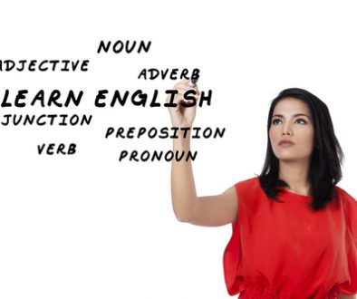 Female student learning english