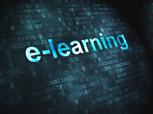 Education concept: E-learning on digital background